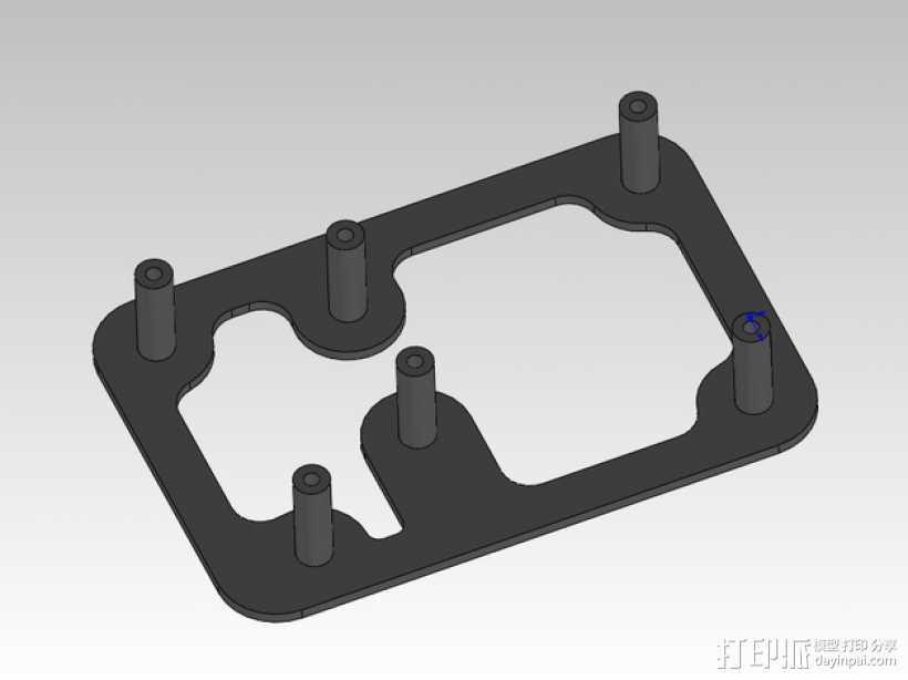 ramps 1.4 电路板安装支架 3D打印模型渲染图