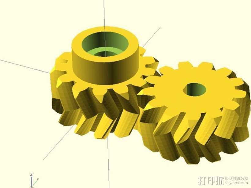 人字齿轮 3D打印模型渲染图