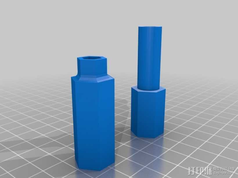 MakerGear M2打印机Z轴螺丝起子和埋头螺母转子 3D打印模型渲染图