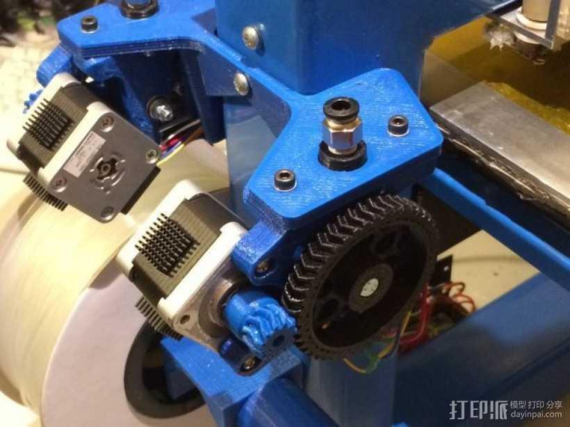 Wade's Extruder 挤出机的滚铣齿轮 3D打印模型渲染图
