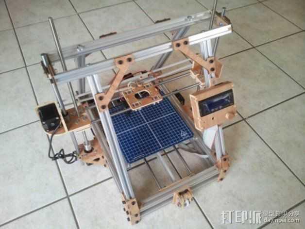 MendelMax打印机木质部件 3D打印模型渲染图