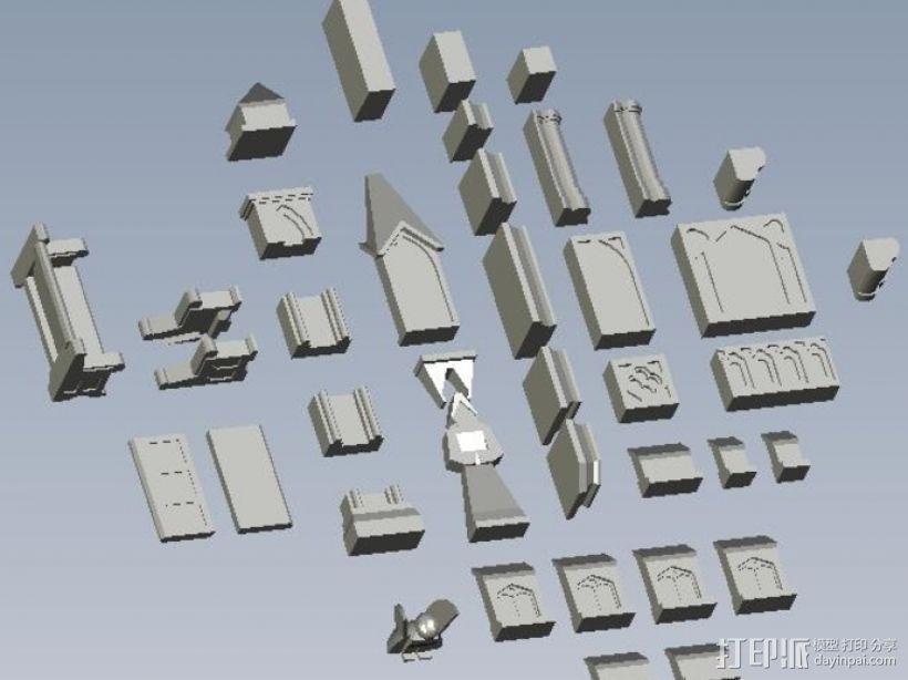 哥特式建筑 3D打印模型渲染图