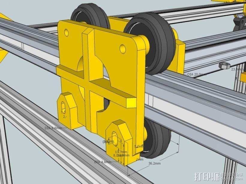 挤出机铝制门架套件 3D打印模型渲染图
