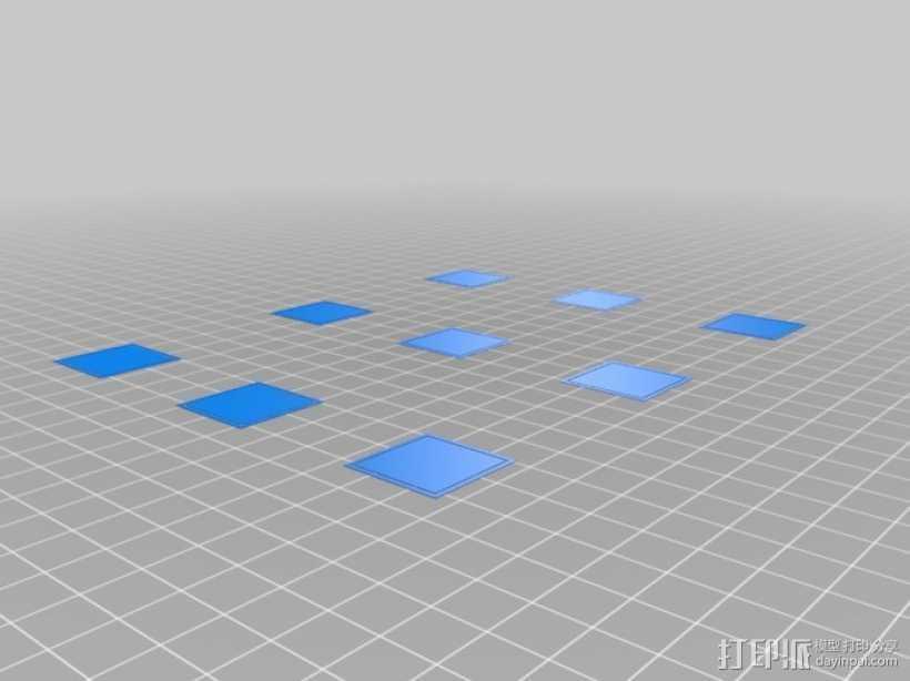 打印床调平测试 3D打印模型渲染图