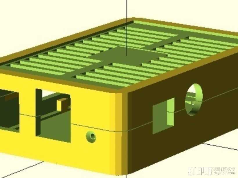 树莓派电路板保护外壳 3D打印模型渲染图