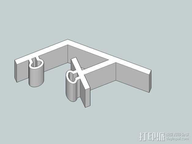 控制器LCD显示屏支架 3D打印模型渲染图