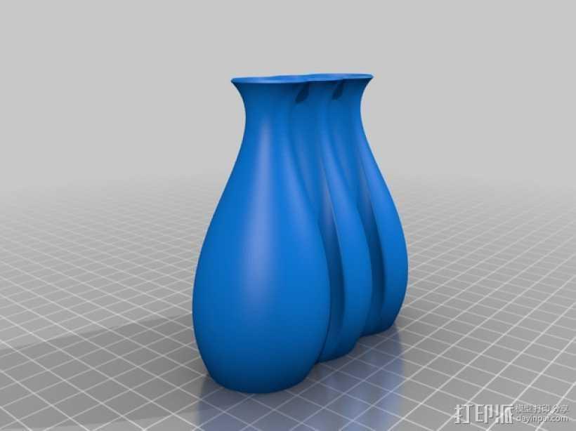 波纹形花瓶 3D打印模型渲染图