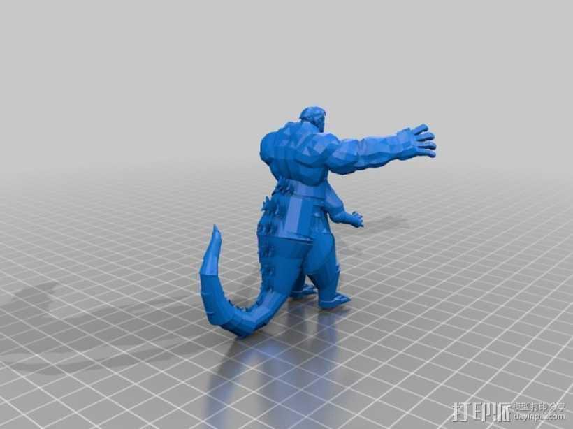 哥斯拉 3D打印模型渲染图