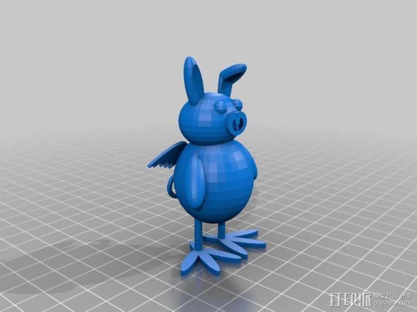 兔子猪 鸡 3D打印模型渲染图