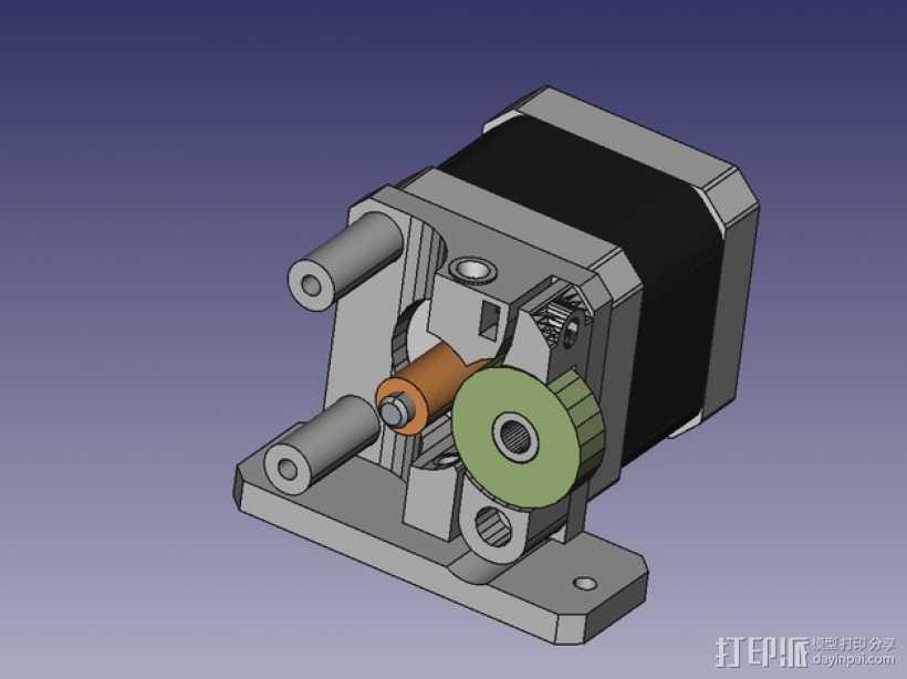 挤出器 3D打印模型渲染图