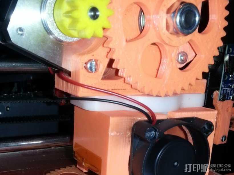 风扇挤出器 3D打印模型渲染图
