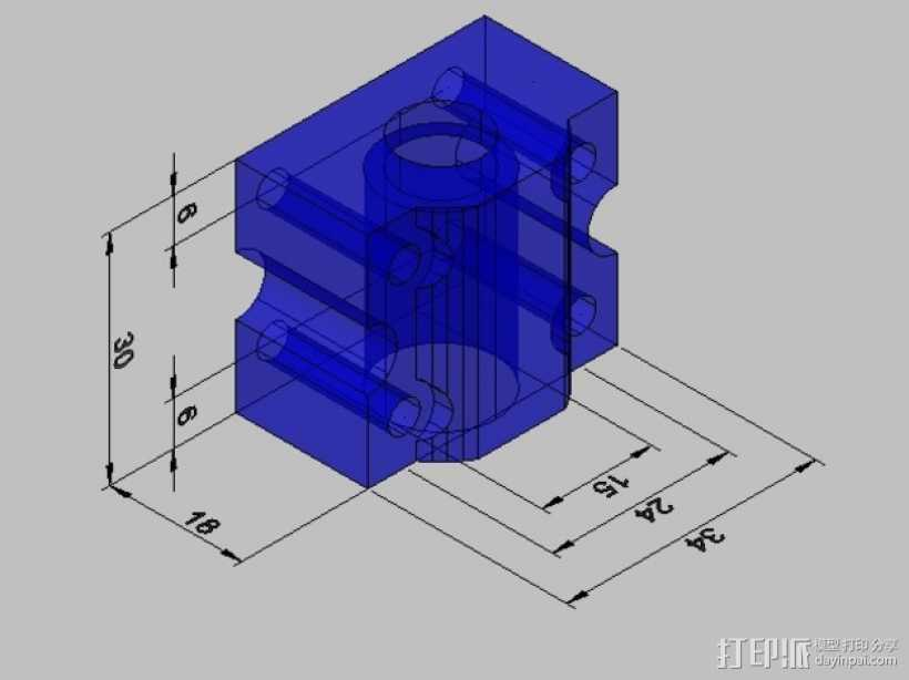 SC8UU滚珠轴承滑块 3D打印模型渲染图