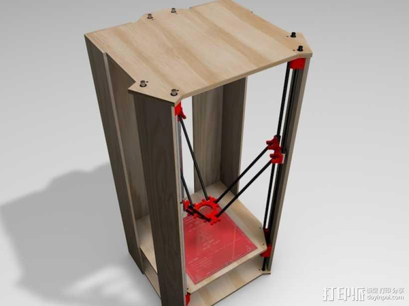 Rostock 打印机的木质框架 3D打印模型渲染图