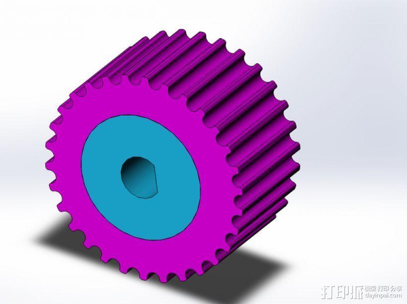 步进马达轴杆旋钮 3D打印模型渲染图