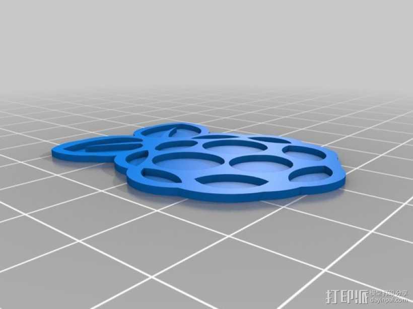 树莓派的标志 3D打印模型渲染图