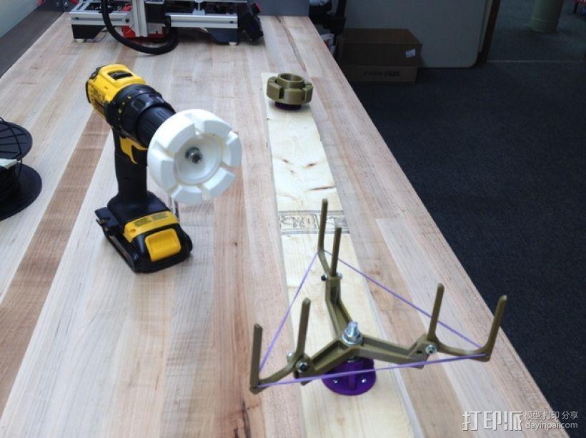 电钻驱动的线材收纳器 卷线器 3D打印模型渲染图