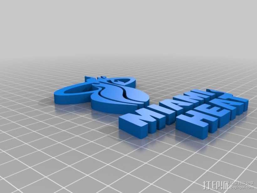 迈阿密热火队标志 3D打印模型渲染图