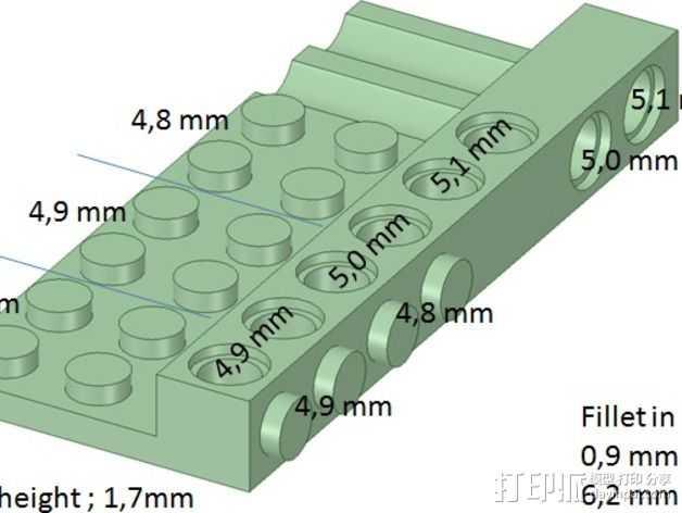 乐高兼容测试 3D打印模型渲染图