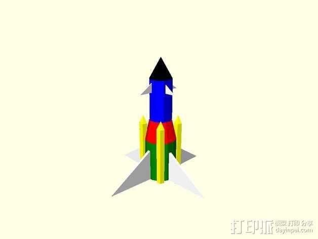 火箭摆件 3D打印模型渲染图