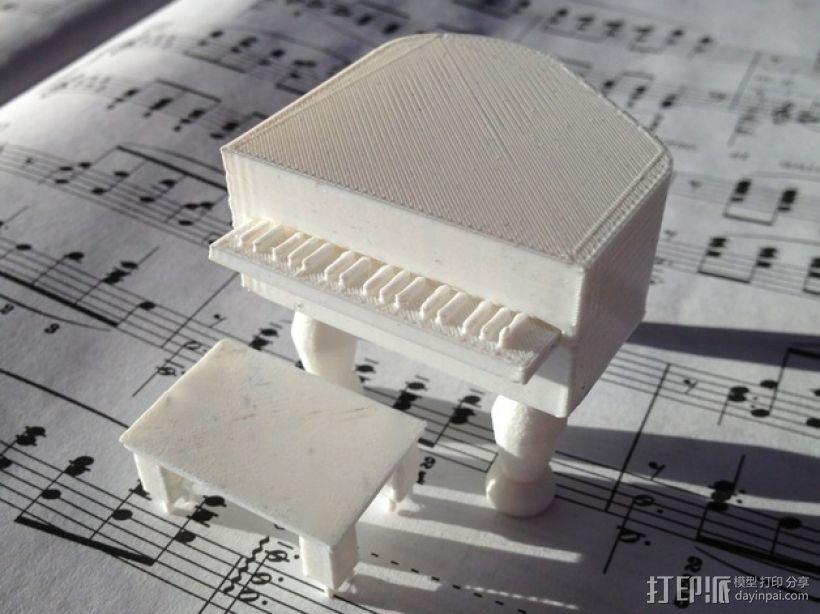 钢琴摆件 3D打印模型渲染图