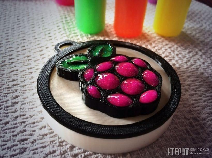 树莓派 标志 大奖章 3D打印模型渲染图