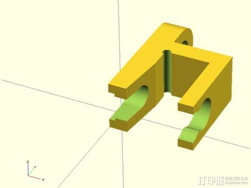 挤出机线材管固定器 3D打印模型渲染图