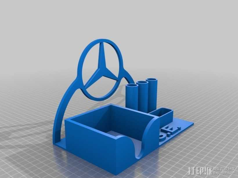 奔驰标志的笔架 3D打印模型渲染图