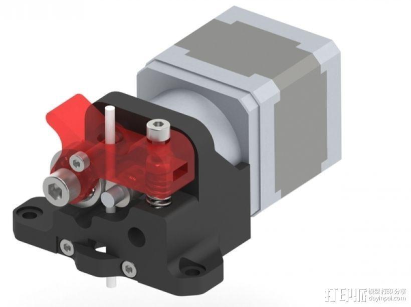 步进马达挤出机 3D打印模型渲染图