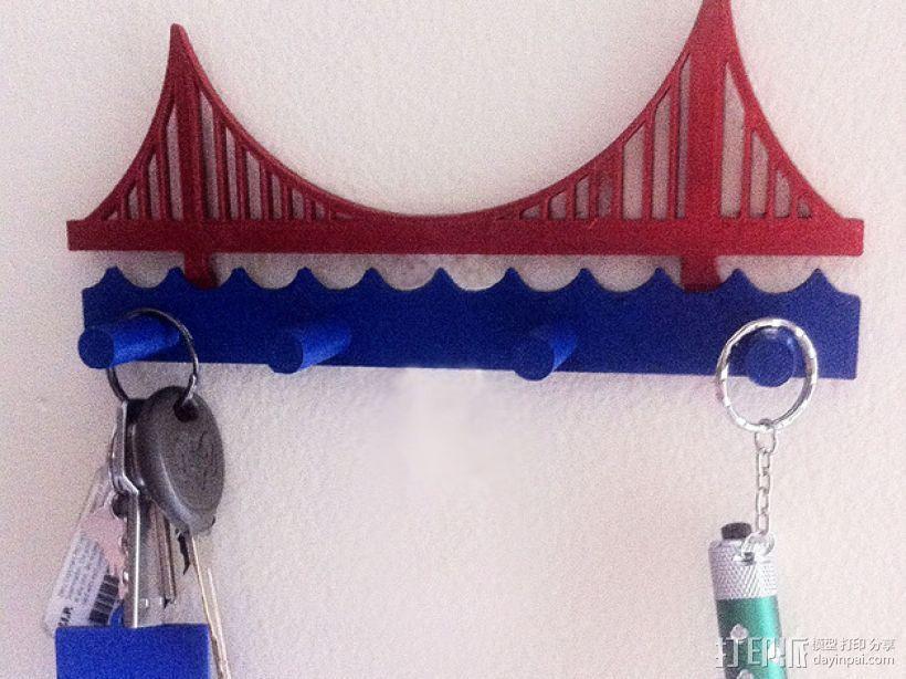金门大桥钥匙架 3D打印模型渲染图