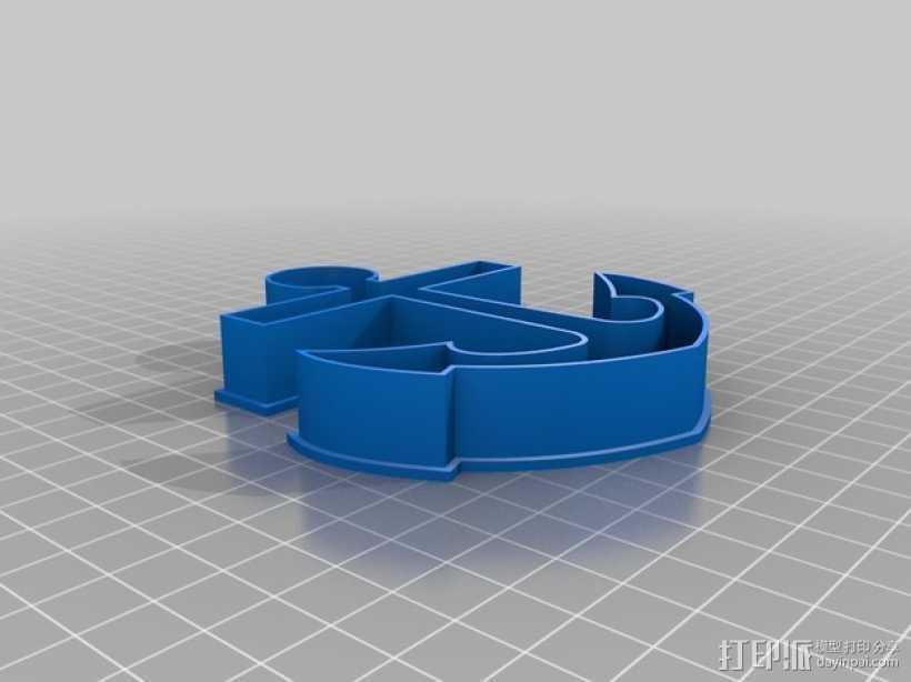 锚形饼干切割器 3D打印模型渲染图
