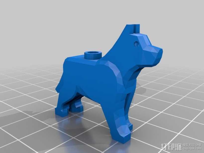 乐高狗狗摆件 3D打印模型渲染图