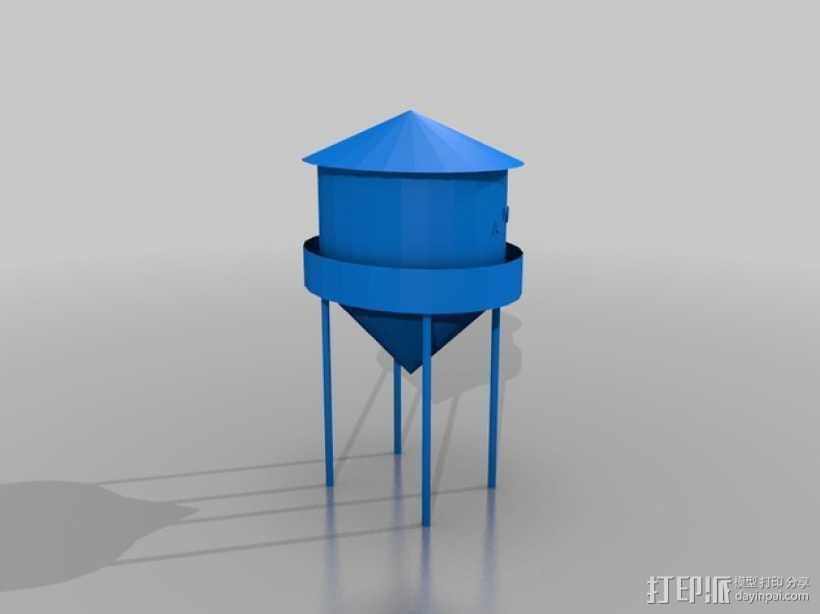 水塔摆件 3D打印模型渲染图