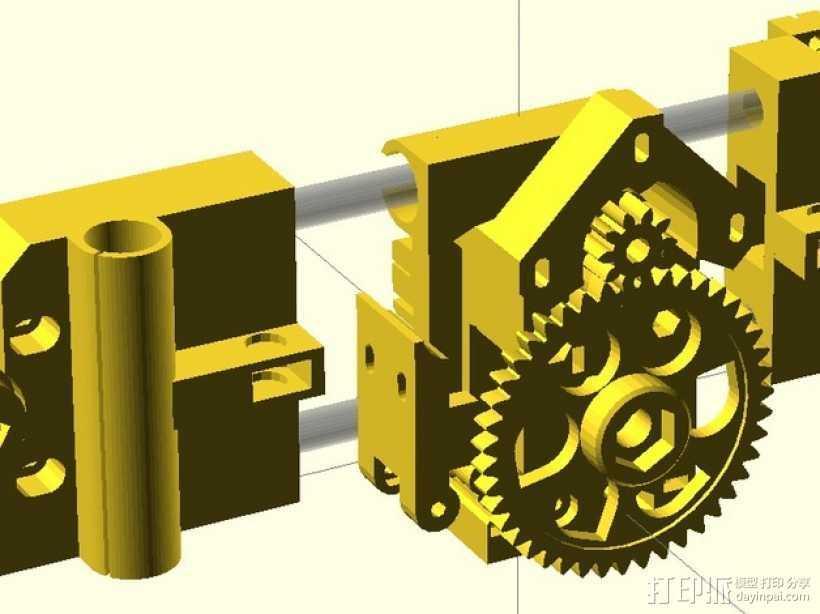 X轴垂直挤出器 3D打印模型渲染图