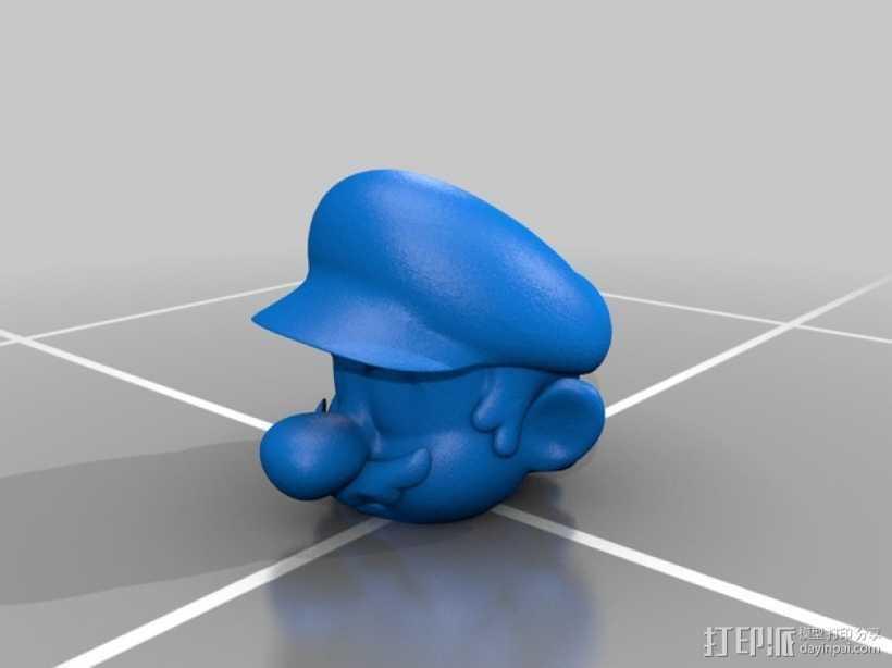 马里奥头像摆件 3D打印模型渲染图