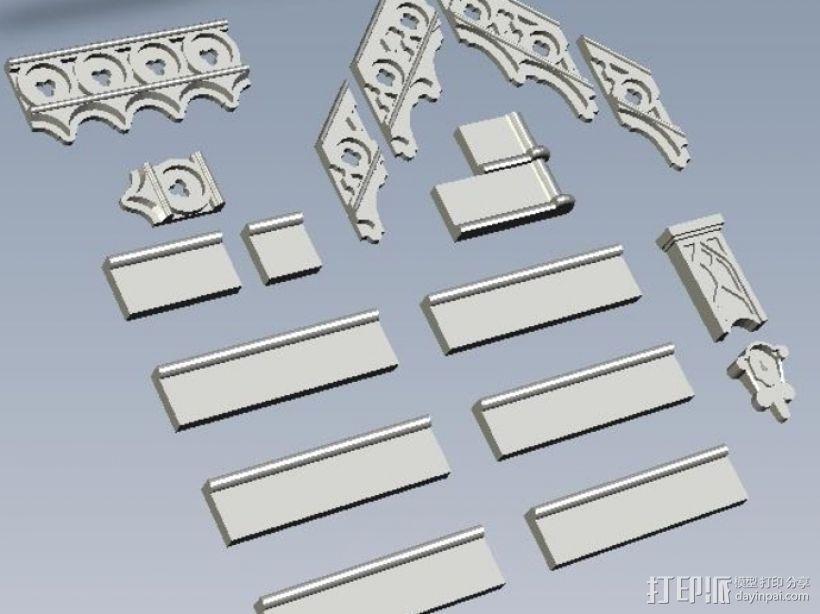 哥特建筑 3D打印模型渲染图