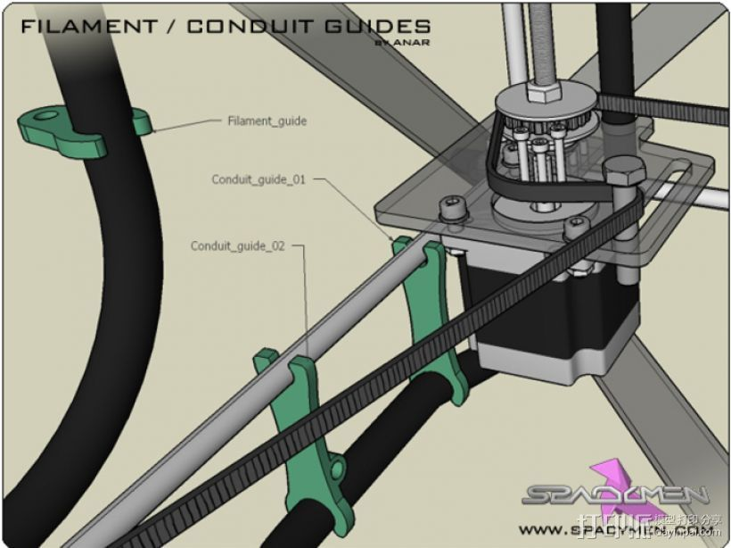 Rapman 3.x打印机导卫管 3D打印模型渲染图