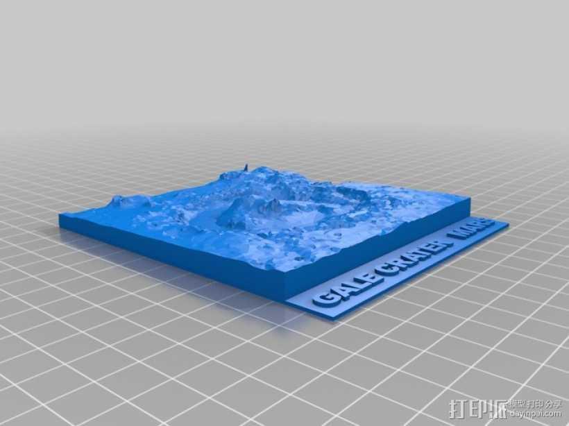 Gale陨石坑 3D打印模型渲染图