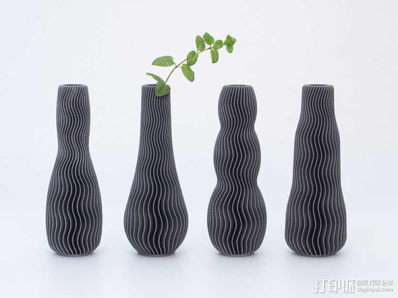 波纹形花瓶模型 3D打印模型渲染图