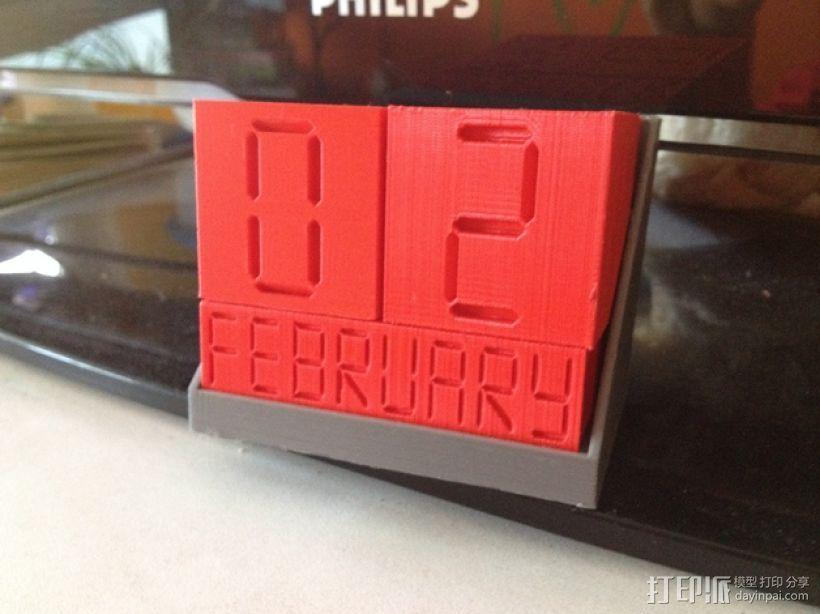 迷你方块日历模型 3D打印模型渲染图