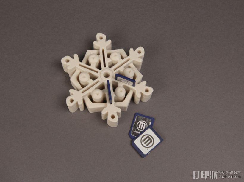 雪花形SD卡盒模型 3D打印模型渲染图