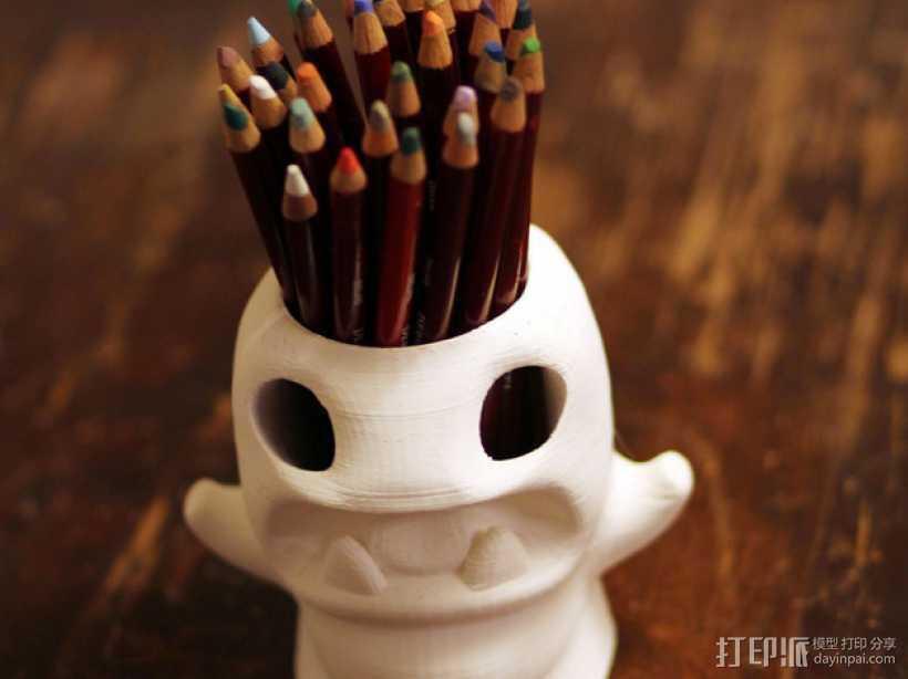 怪物铅笔筒模型 3D打印模型渲染图