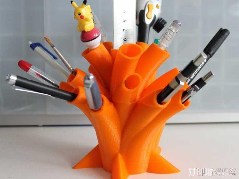 树干形笔筒模型 3D打印模型渲染图