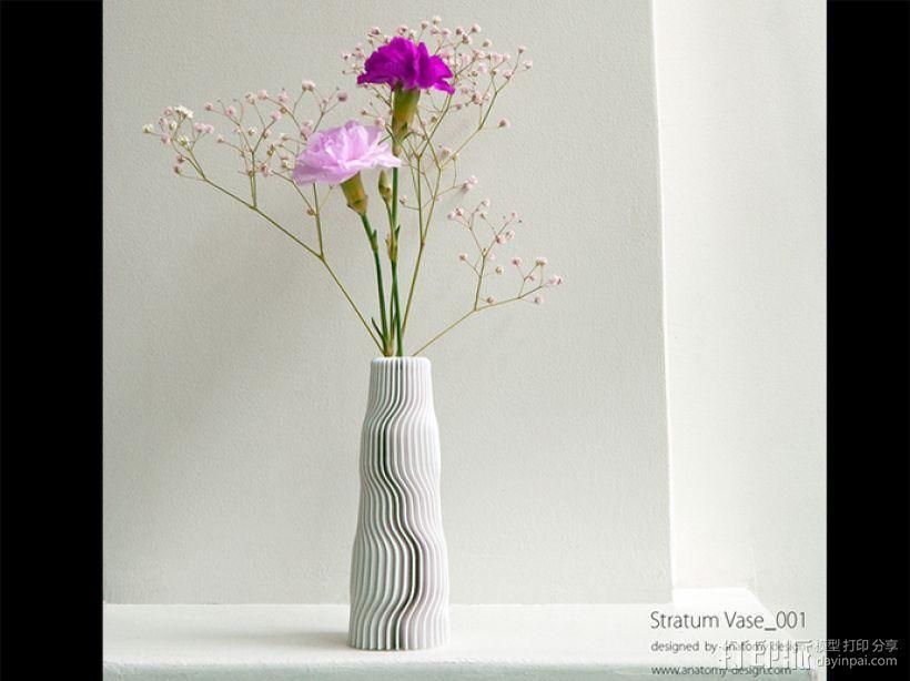 迷你波浪形花瓶模型001 3D打印模型渲染图