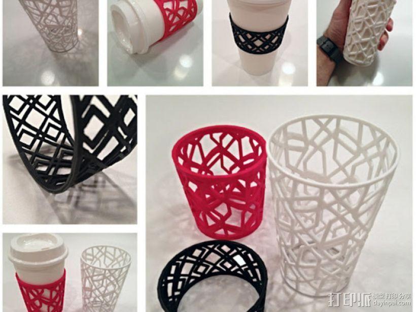 个性化咖啡杯/茶杯杯套模型 3D打印模型渲染图