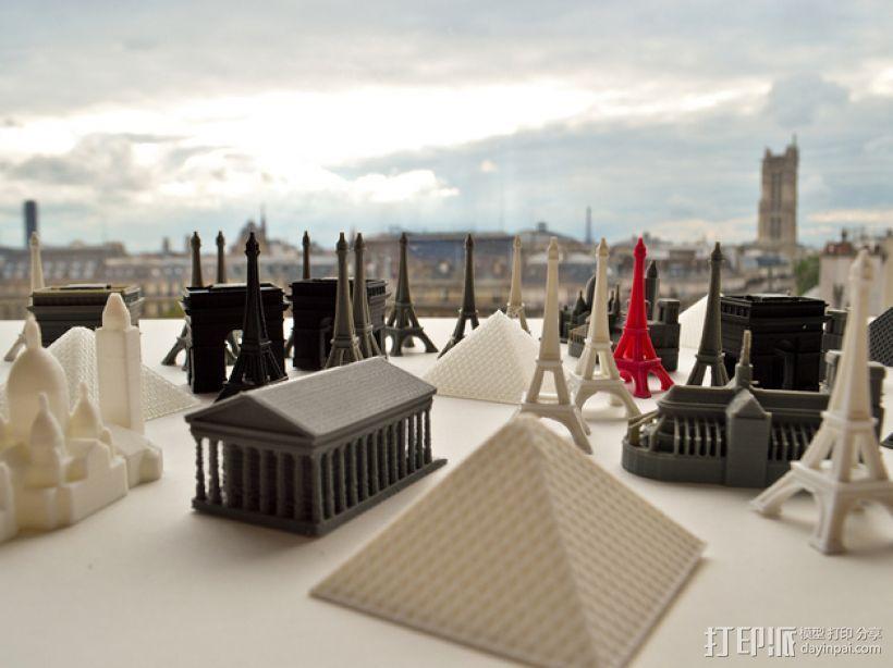 巴黎著名的建筑 3D打印模型渲染图