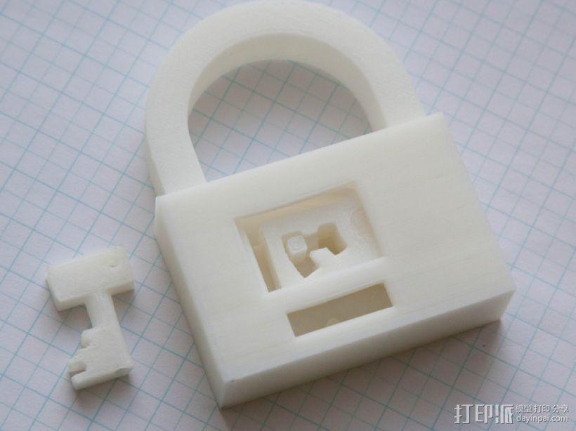 3D打印挂锁模型 3D打印模型渲染图