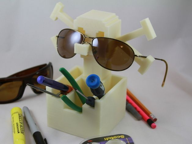 骷髅头形多功能盒模型 3D打印模型渲染图