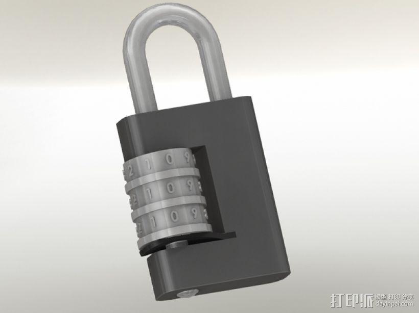 带密码锁的挂锁模型 3D打印模型渲染图