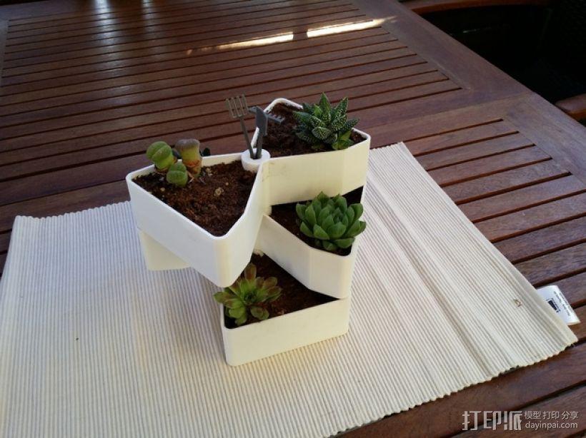 迷你多层花盆模型 3D打印模型渲染图