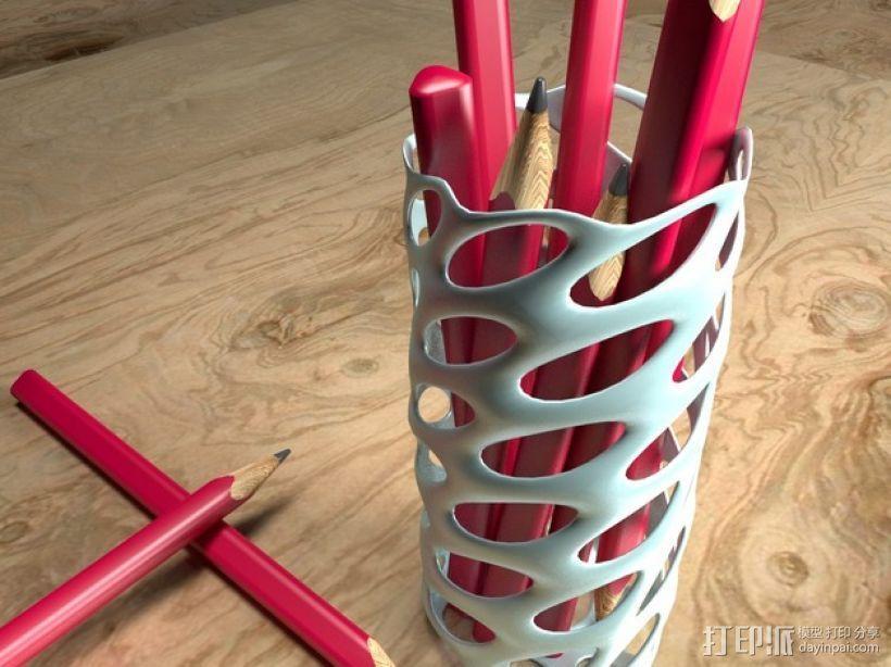 圆形镂空笔筒模型 3D打印模型渲染图